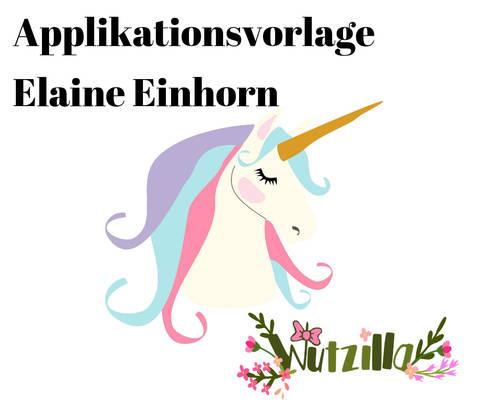 Einhorn Elaine Applikationsvorlage