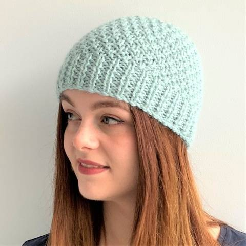 Knitting pdf - Glacier Blue Beanie  - Toddler to l adult  at Makerist
