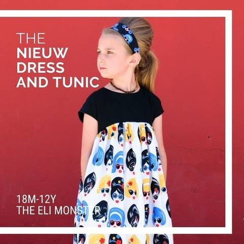 The Nieuw Dress Sewing Pattern for Girls 18m-12y