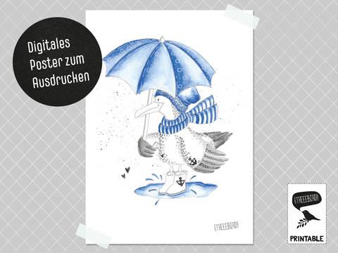 Poster Möwe Fred zum Ausdrucken bei Makerist