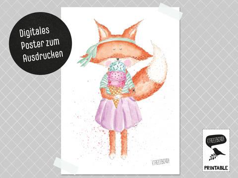 Poster Fuchsmädchen zum Ausdrucken bei Makerist
