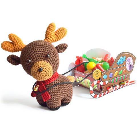 Rudolph Rentier Weihnachten Süßigkeiten-Schlitten Amigurumi bei Makerist