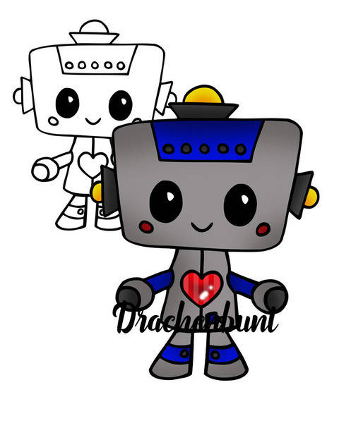 Plotterdatei Plott Roboter mit Herz Jungen Mädchen unisex bei Makerist