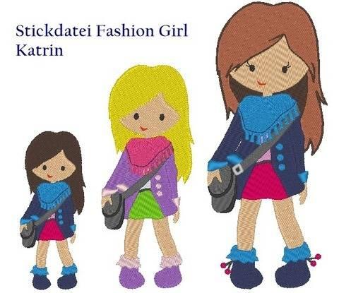 Mädchen Fashion Girl Stickdatei
