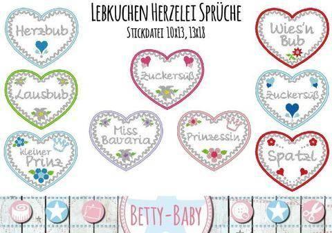 Stickdatei Lebkuchen Herzelei Sprüche 10x13, 13x18 bei Makerist