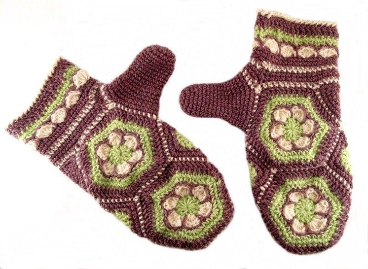 """Häkelanleitung Handschuhe """"Blumenwabe"""", Hexagon bei Makerist - Bild 1"""