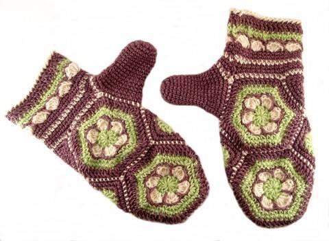 "Häkelanleitung Handschuhe ""Blumenwabe"", Hexagon"