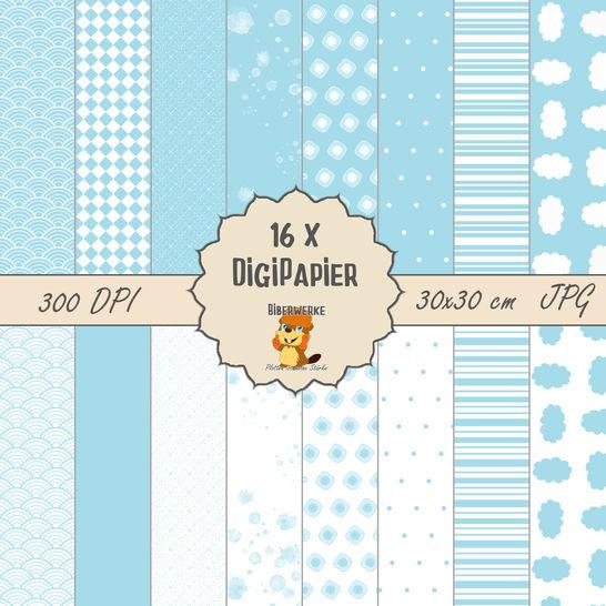 DigiPapier Pastell Blau bei Makerist - Bild 1
