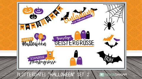HALLOWEEN Set 2 - Plotterdateien | DigiPaper | DigiStamps bei Makerist
