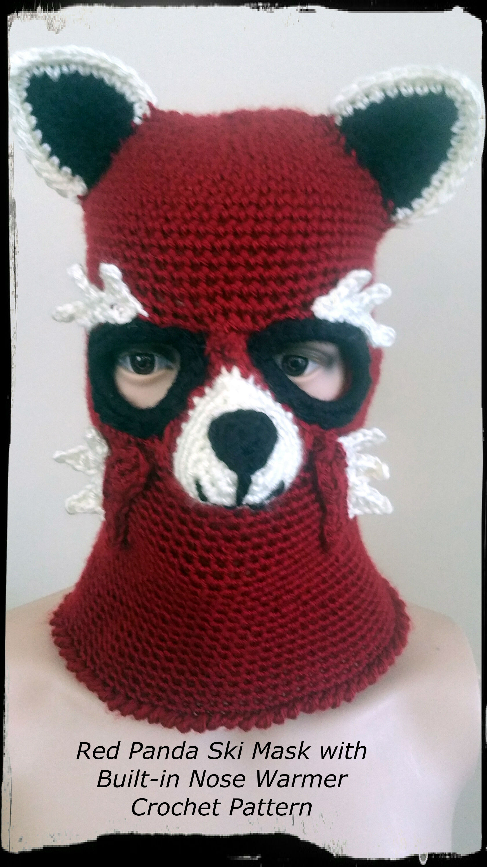 Red Panda Ski Mask Crochet Pattern - PDF