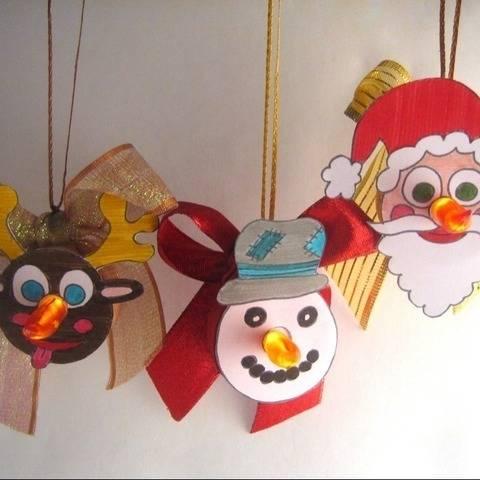 Leuchtende Anhänger Elch Schneemann Weihnachtsmann ausmalen