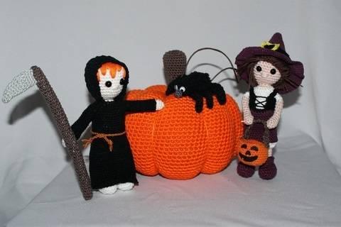 Halloween Set Tod, Hexe, Kürbis, Spinne Häkelanleitung bei Makerist