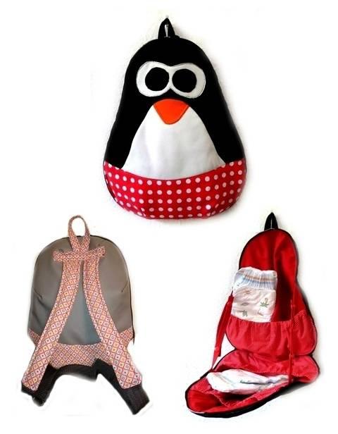 Ebook Nähanleitung WiTaRu Pinguin Wickeltasche Rucksack Tasche Tier Kindergarten  bei Makerist