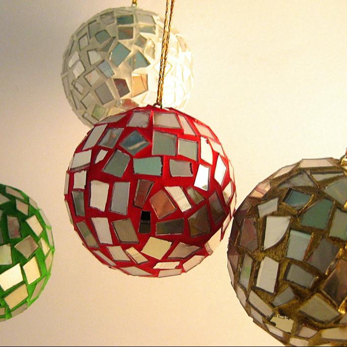 Weihnachtskugeln Dekokugeln Christbaumkugeln Upcycling CDs