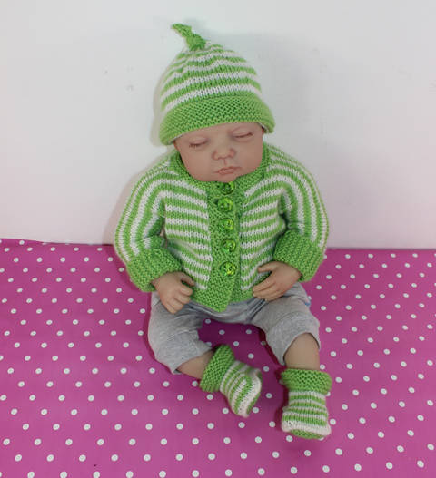 Baby Easy Stripe Onepiece Cardigan,Beanie & Booties