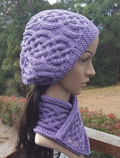 Cable Neck Scarf and Beanie - Sapphire at Makerist - Image 1