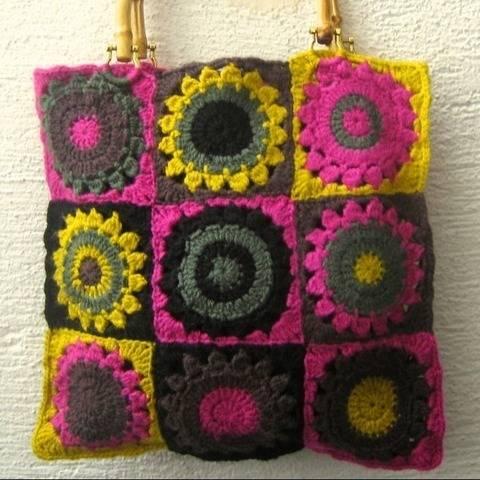 Handtasche Granny Squares Hippie Boho 70er Jahre retro