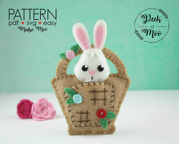Felt Bunny in a Basket Pattern | Christmas Ornament at Makerist - Image 1