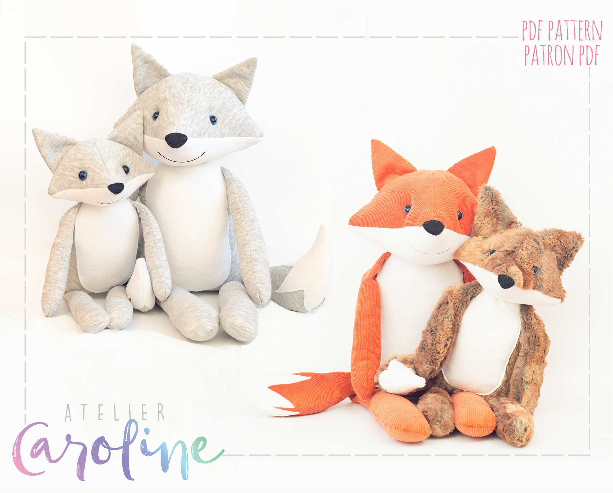 Stuffed Toy Fox And Wolf Sewing Pattern