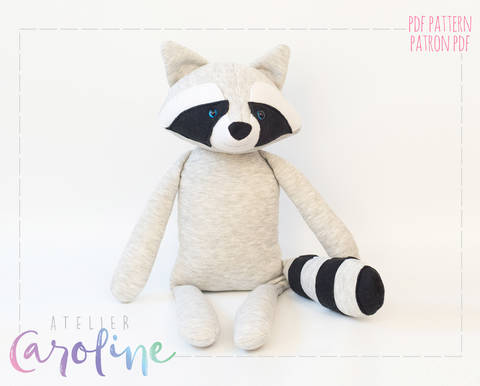 Stuffed toy raccoon sewing pattern at Makerist