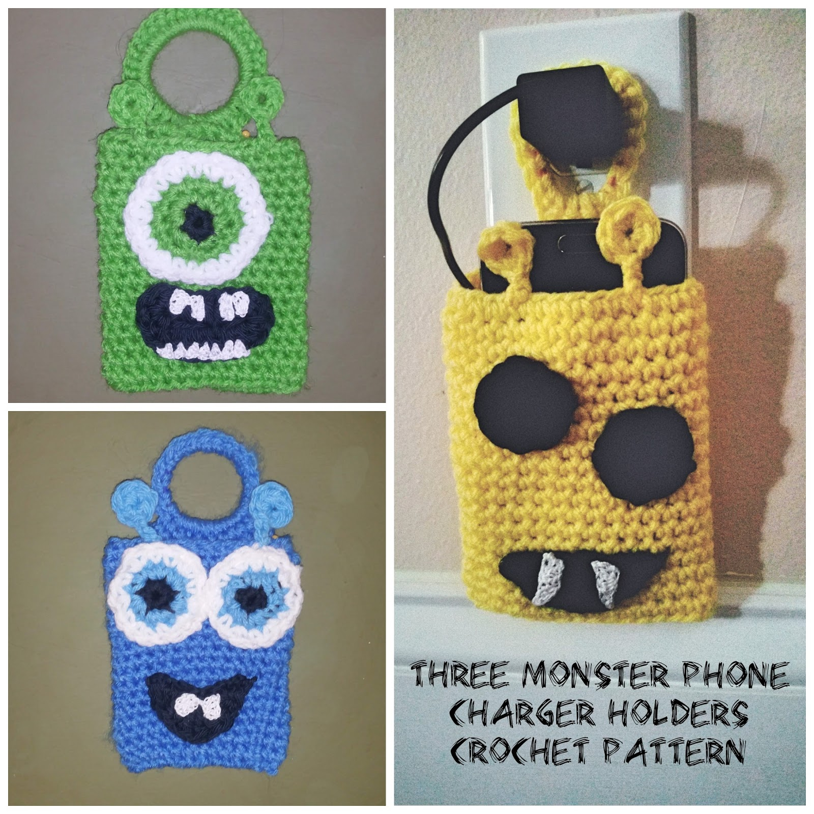 Monsters Phone Charger Holders Crochet Pattern - PDF