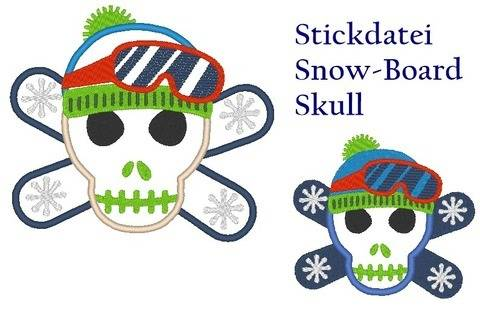 Snow Board Skull Stickdatei