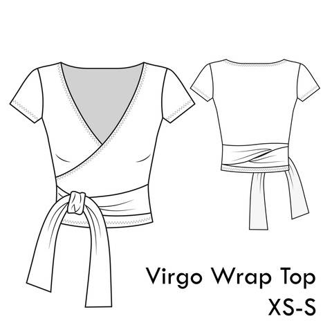 Virgo Jersey Wrap Top - XS-S / US 4-6 / UK 6-8 - A4 + letter