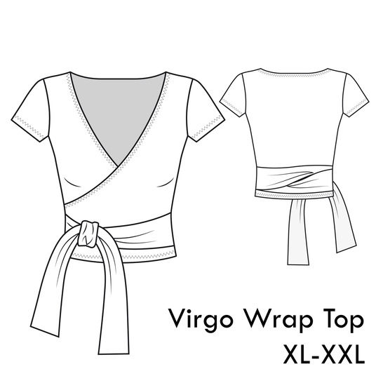 Virgo Jersey Wrap Top -XL-XXL /US 12-14 /UK 14-16- A4+letter at Makerist - Image 1