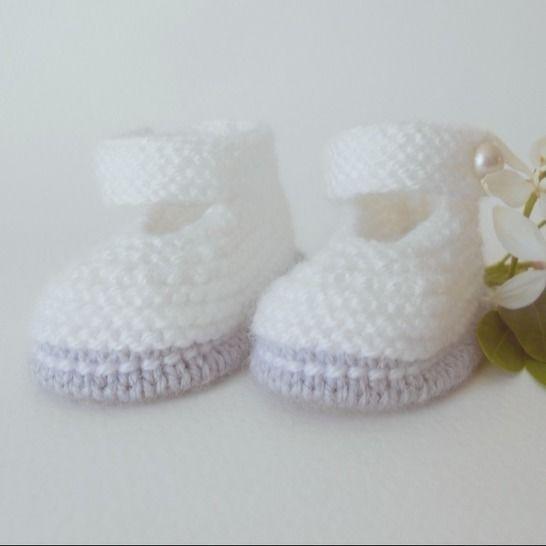 Chaussons Babies chic 6 mois - tutoriel tricot bébé PDF chez Makerist - Image 1