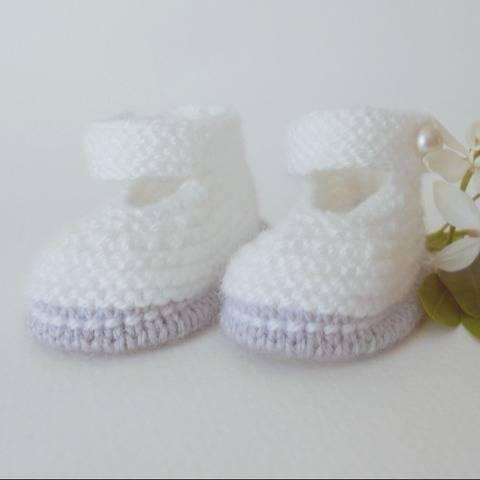 Chaussons Babies chic taille 6 mois - tutoriel tricot chez Makerist