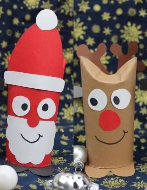 Klorollenkerlchen Weihnachtsmann und Rentier mit Bastelbogen