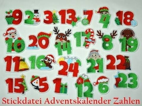 Adventskalender Zahlen Stickdatei bei Makerist