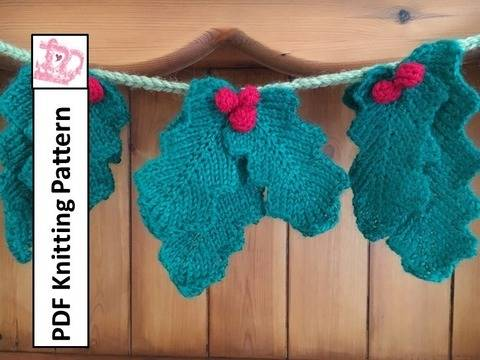 Holly garland knitting pattern at Makerist