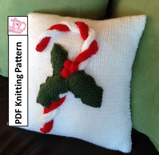 Christmas Candy Cane Pillow Cover knitting pattern pdf at Makerist - Image 1