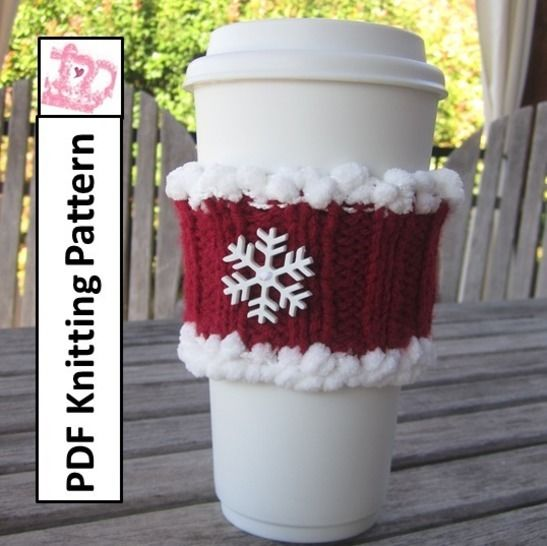Christmas coffee cozy - PDF Knitting Pattern at Makerist - Image 1