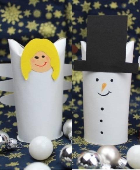 Klorollenkerlchen Schneemann und Engel mit Bastelbogen