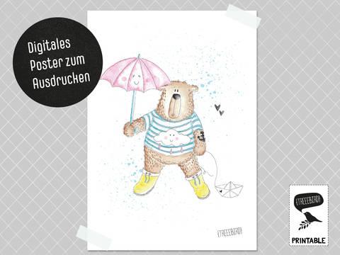 Poster Regenbär zum Ausdrucken bei Makerist