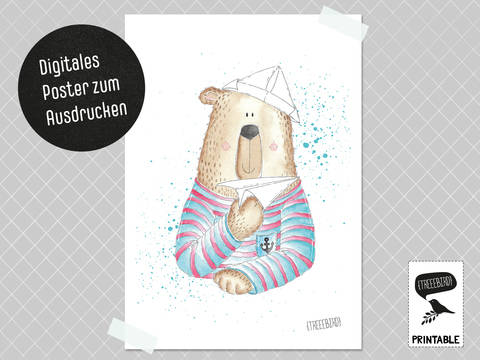 Poster Papierfliegerbär zum Ausdrucken bei Makerist