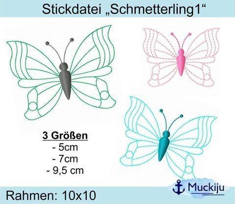 """Stickdatei Set """"Schmetterling 1"""" 10x10 (3 Größen)"""