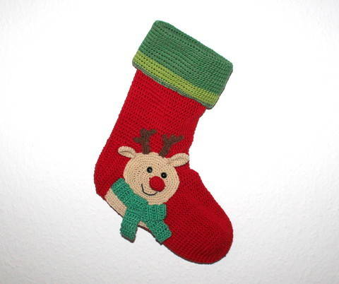 xmas stocking reindeer crochet pattern english version at Makerist