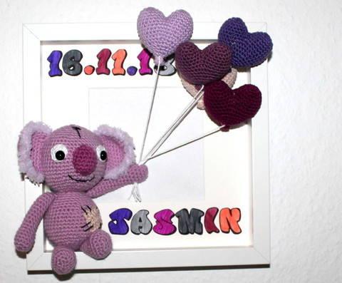 Koala Baby Willkommenskarte Häkelanleitung deutsche Version bei Makerist