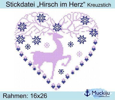 """Stickdatei """"Hirsch im Herz"""" 16x26 - Kreuzstich"""