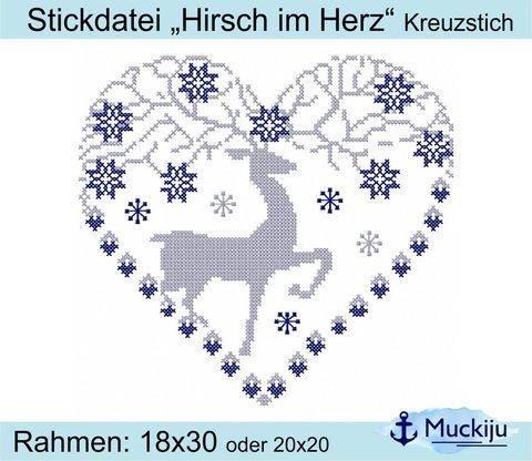 """Stickdatei """"Hirsch im Herz"""" 18x30/20x20 - Kreuzstich"""
