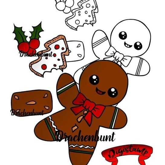 Digi Stamp Printable Lebkuchenmann Weihnachten bei Makerist - Bild 1