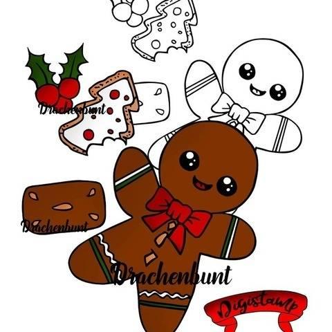 Digi Stamp Printable Lebkuchenmann Weihnachten bei Makerist