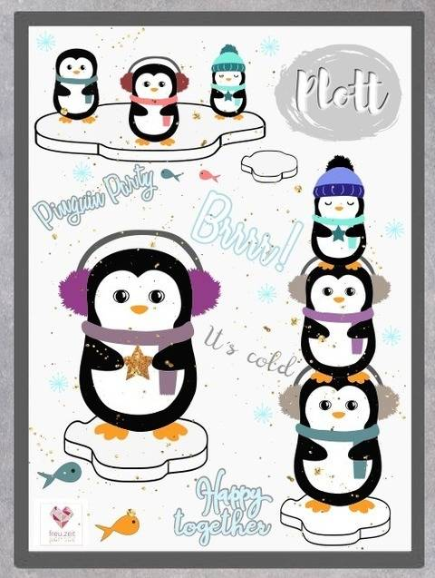 Plottdesign - Wintertiere - Pinguin Pingo & Friends bei Makerist