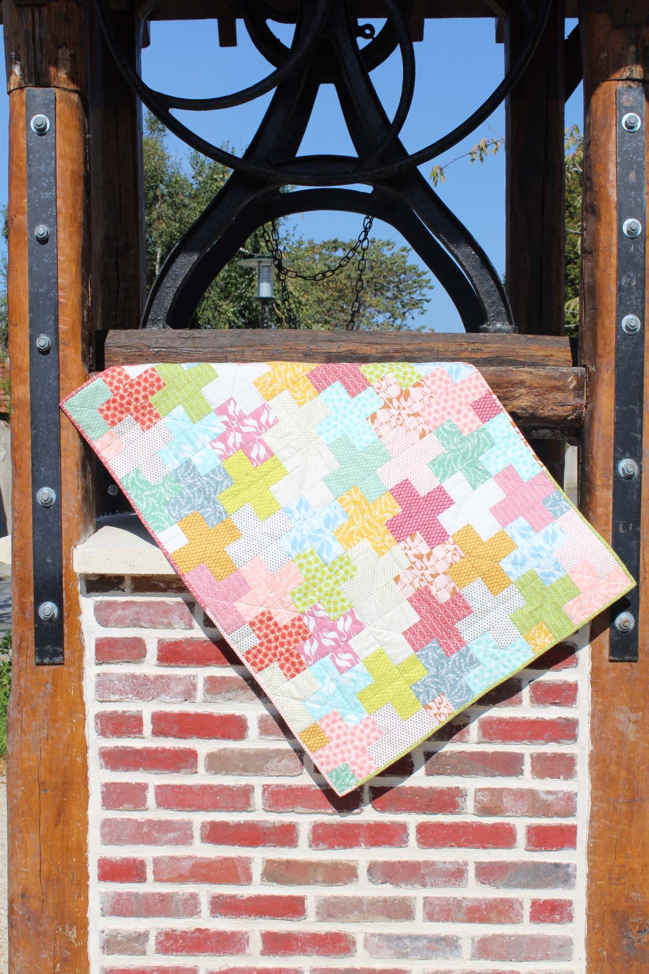 """Couverture de bébé en patchwork """"Fin d'été"""""""