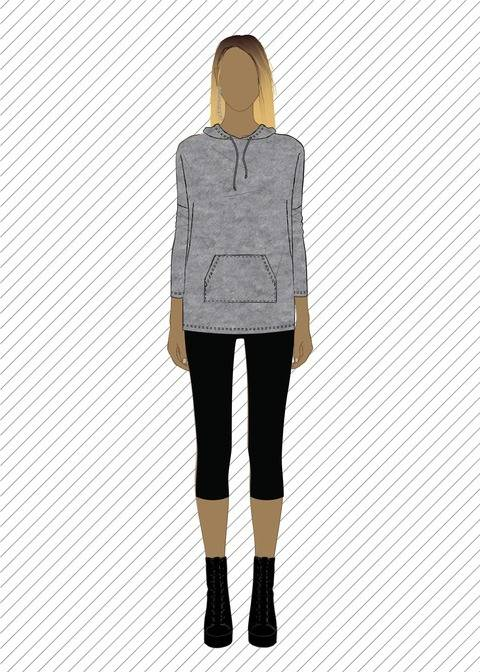 SW602 Hooded sweatshirt - PDF sewing pattern