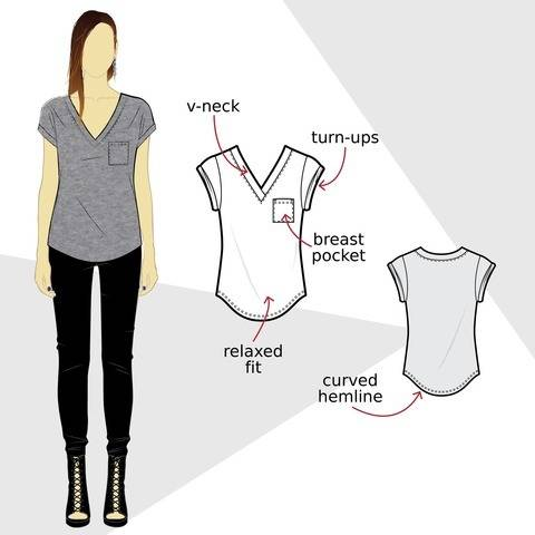 T003 relaxed t-shirt - PDF sewing pattern at Makerist