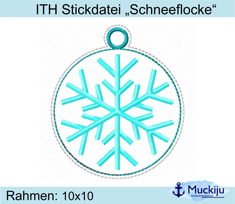 """ITH Stickdatei """"Schneeflocke"""" Anhänger"""